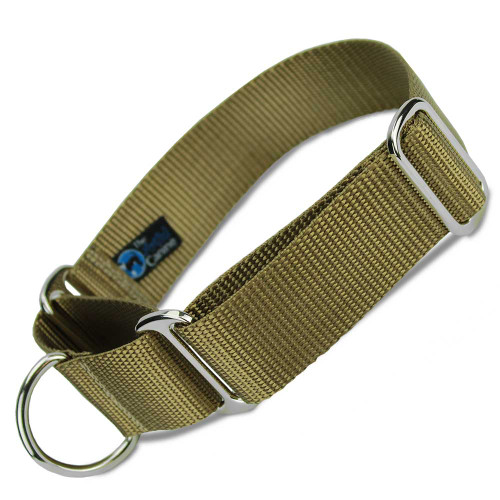 "Coyote Tan 1.5"" Wide Nylon Martingale Collar"