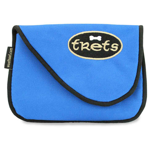 Dog treat pouch bag, front, blue