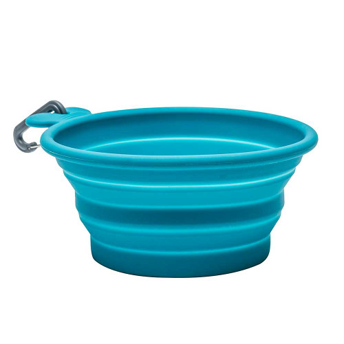 Portable Dog bowl, Collapsable, Silicone, Blue (open view)
