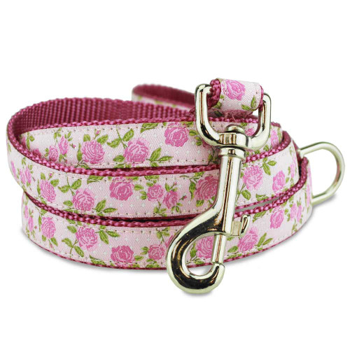 Pink Floral dog leash with pink roses pattern
