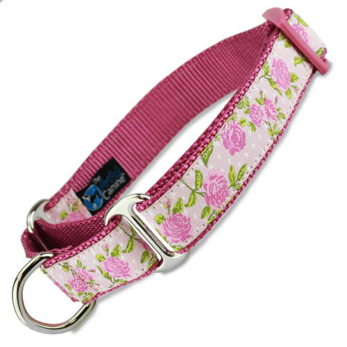 Pink Roses on pink, Martingale Dog Collar, pink floral design, Shabby Chic