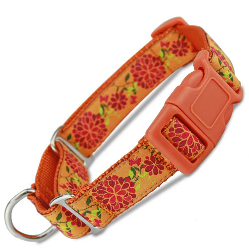 Summer Blossom Floral Buckle Martingale dog Collar, Limited Slip, Safety Collar, orange, red and lime