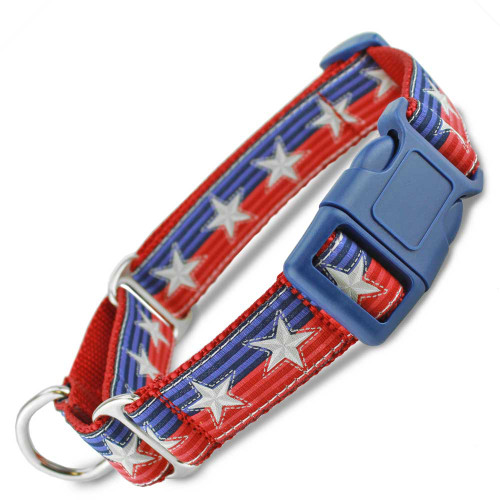 Patriotic Buckle Martingale Collar, stars and stripes, Quick Release