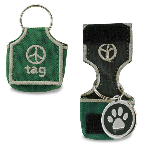 Dog tag silencer, green, stops tags from making noise