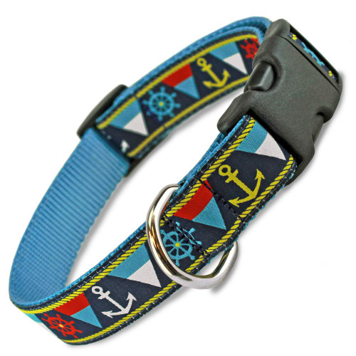 Nautical Dog Collar, Anchors, Flags & Ship Wheels, Beachy