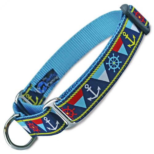 Nautical Martingale dog Collar, Anchors, Flags, Ship Wheels