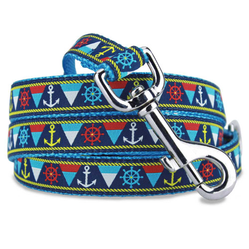 Nautical Dog Leash, Anchors flags & Ship wheels