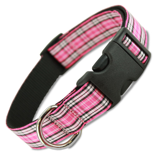 pink plaid dog collar