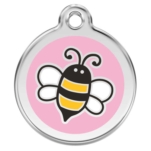 Bumble Bee Dog ID Tag, Pink
