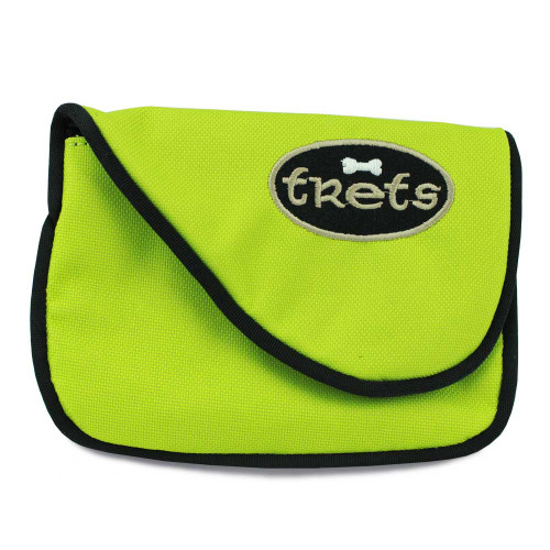 dog treat bag for training, front, lime green