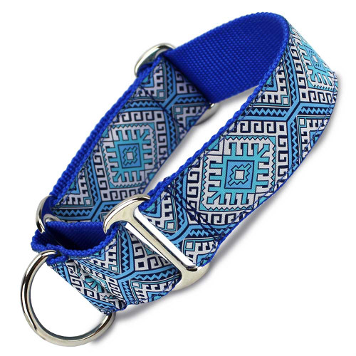"wide martingale collar, 1.5"" wide, blue aztec pattern"