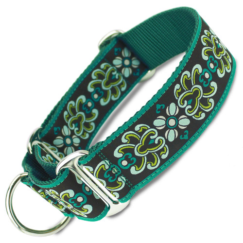 "designer damask 1.5"" wide martingale collar"