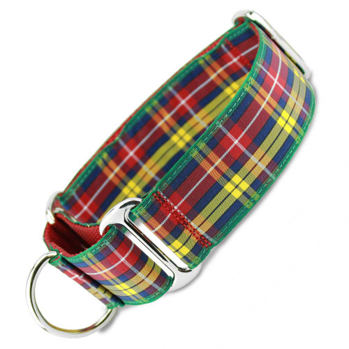 "Wide Martingale Collar, 1.5"" wide, Buchanan Plaid Tartan"