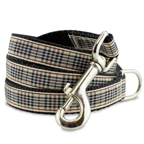 Plaid Dog Leash, Blackberry Tartan, 4', 5', 6' long with D-ring, Nylon.