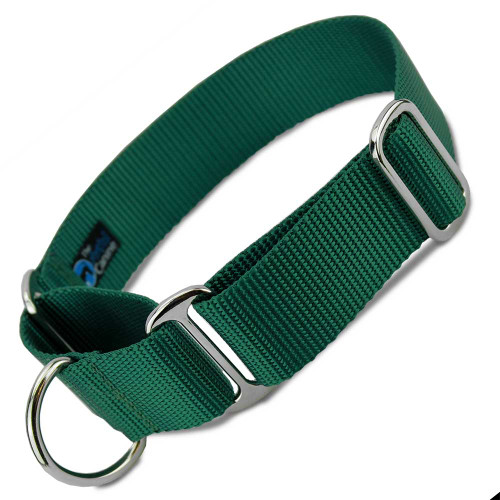 "Green 1.5"" Wide Nylon Martingale Collar"