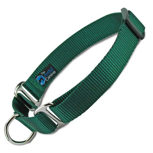 Green Martingale Dog Collar, Nylon, Training Dog Collar, Safety Collar