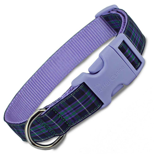 Plaid Dog Collar, Pride of Highland Tartan, Quick Release Snap On Style Buckle, lavender, Adjustable