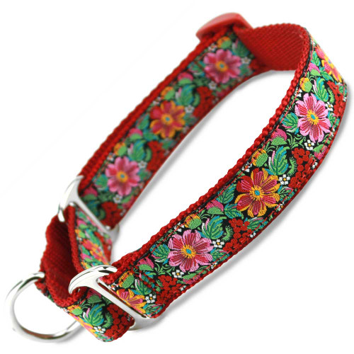 Red Floral Martingale Dog collar, slip-on style