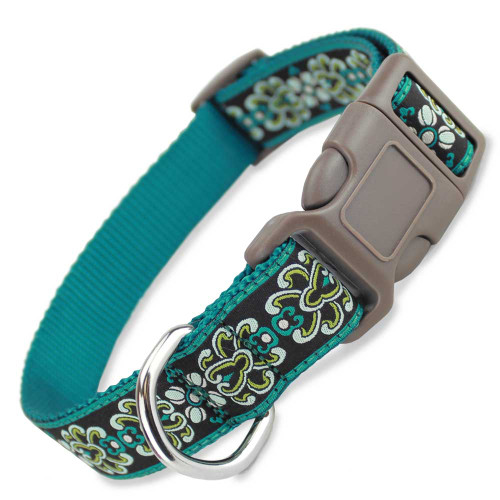 Teal Damask Dog Collar with brown buckle