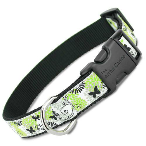 Black Butterflies Dog Collar on Black