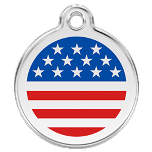 US Flag Dog ID Tag, red, white blue enameling over stainless steel