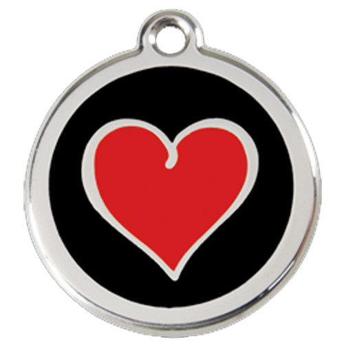 Heart Dog ID Tag, Red & Black Enameling Over Stainless Steel