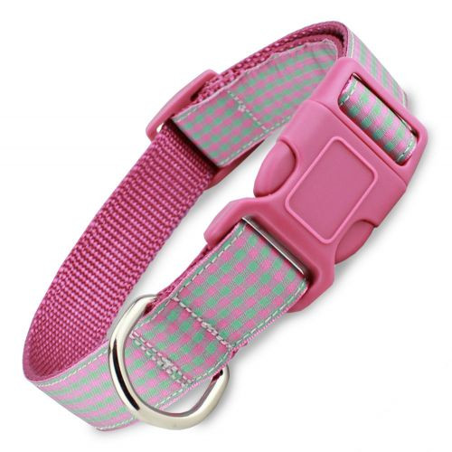 Gingham Dog Collar, Quick Release Snap On Style Buckle, Mint & Raspberry, Adjustable