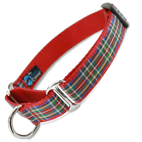 Scottish Plaid Martingale Dog Collar, Red Nylon, Limited Slip Dog Collar, Safety Collar