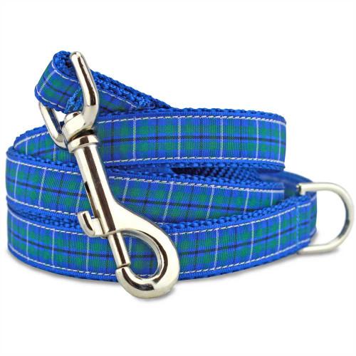 Plaid Dog Leash, Douglas Tartan, Blue, 4', 5', 6' long, D-ring, Nylon