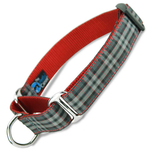 Pride of Scotland Martingale Dog Collar, Red & Grey Tartan, Limited Slip Dog Collar, Safety Collar, Nylon