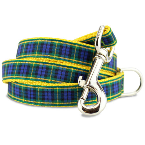 Plaid Dog Leash, Gordon Tartan, 4', 5', 6' Long, D-ring, Nylon