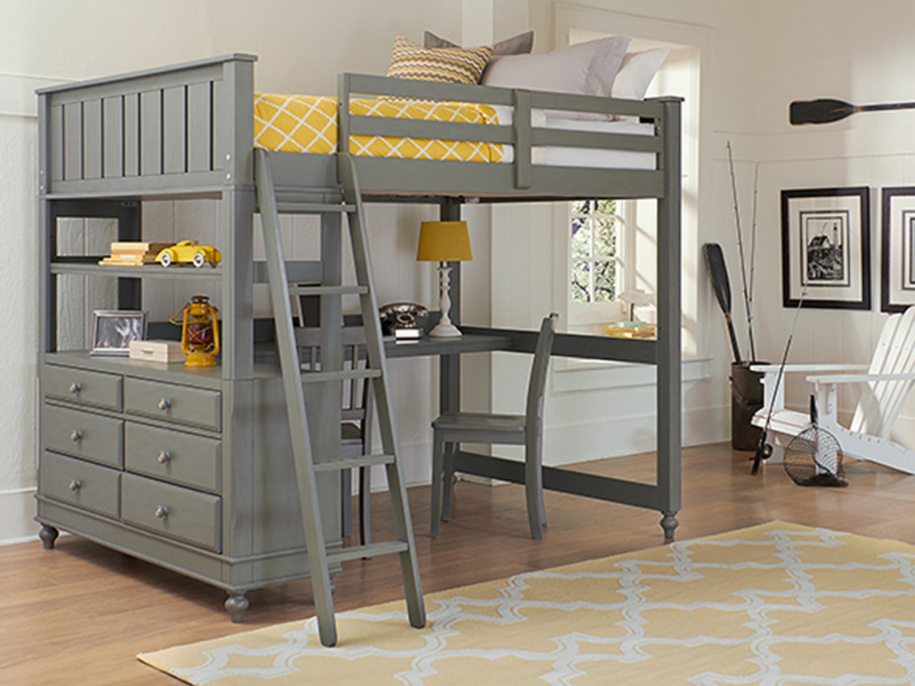 Lakeview Loft Bed Full with Desk - Grey