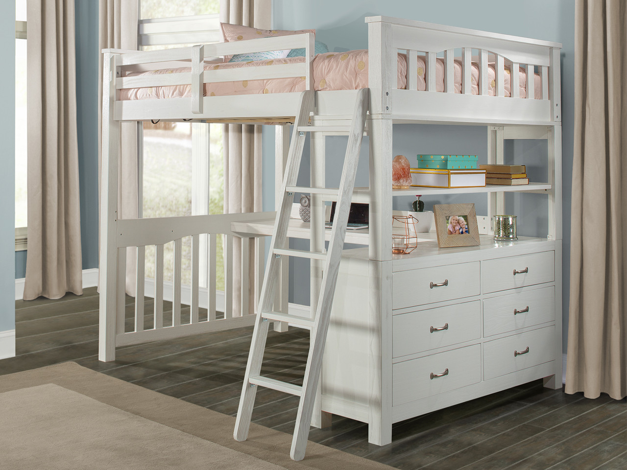 Seaview Loft Bed With Desk Full White Bedroom Source