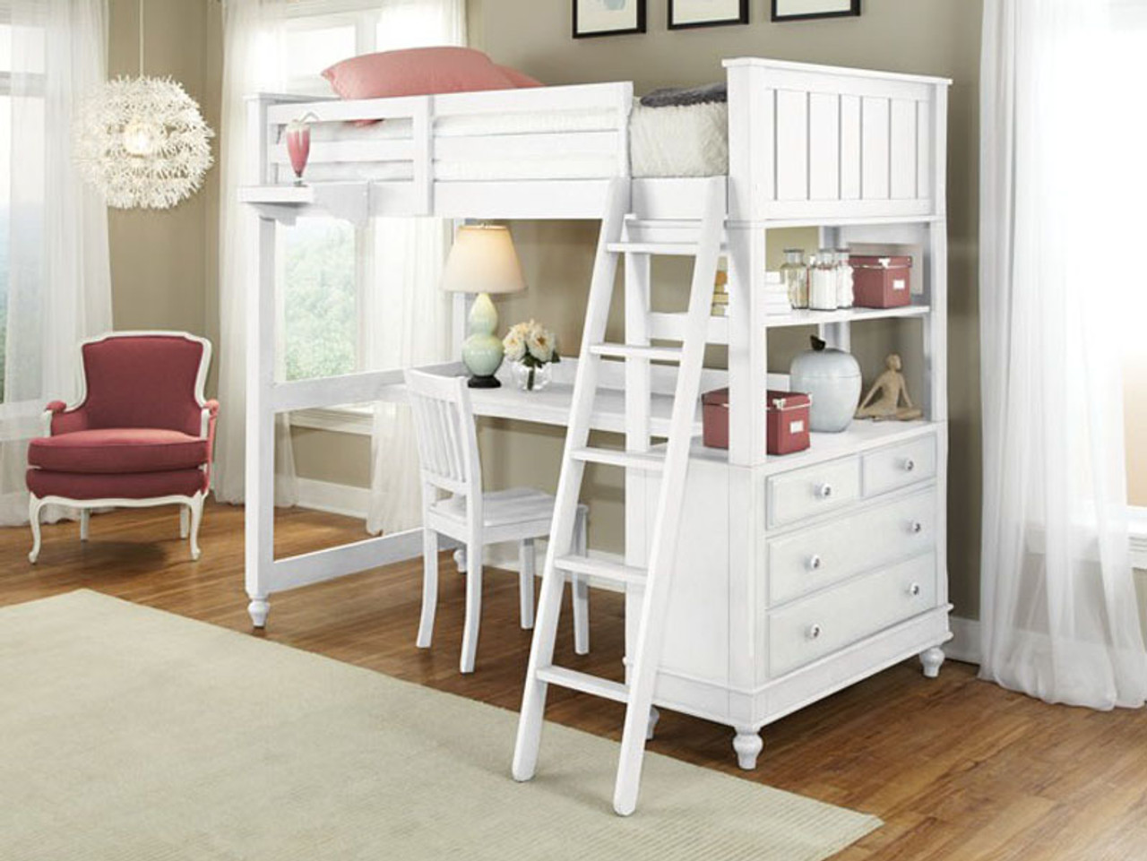 Lakeview Loft Bed Full White Bedroom Source