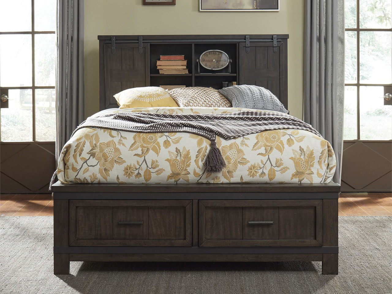 Picture of: Farmhouse Bookcase Storage Bed Queen Bedroom Source