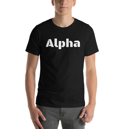 Alpha white letters Short-Sleeve T-Shirt