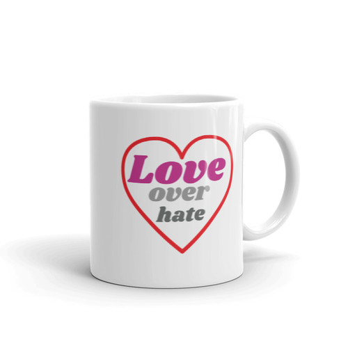 LOVE over hate Mug