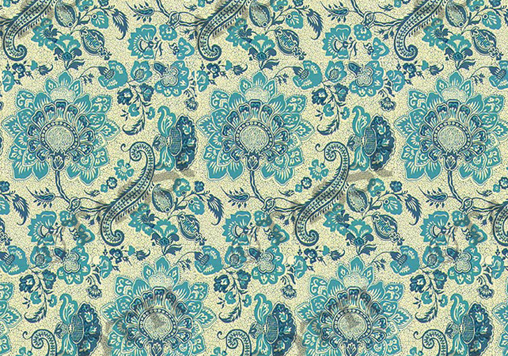 T7214 - INDIAN FLOWERS/BLUE