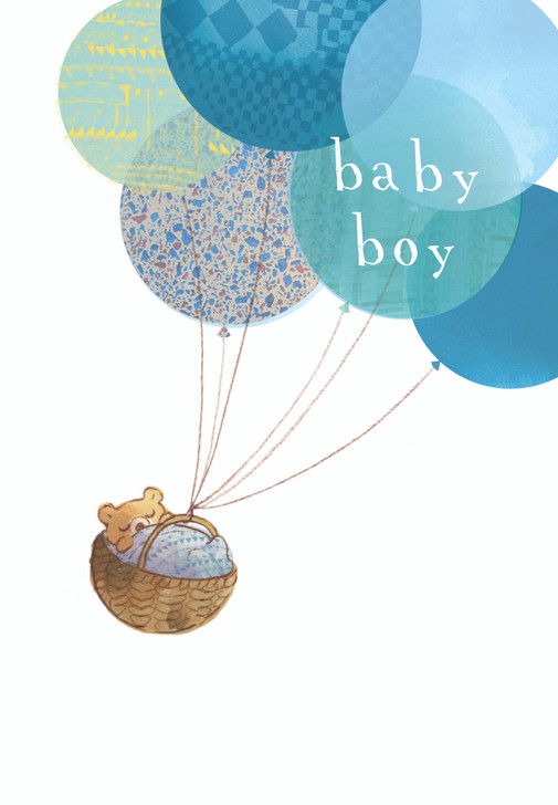 H433375 - BABY BOY BEAR WITH BALLOONS