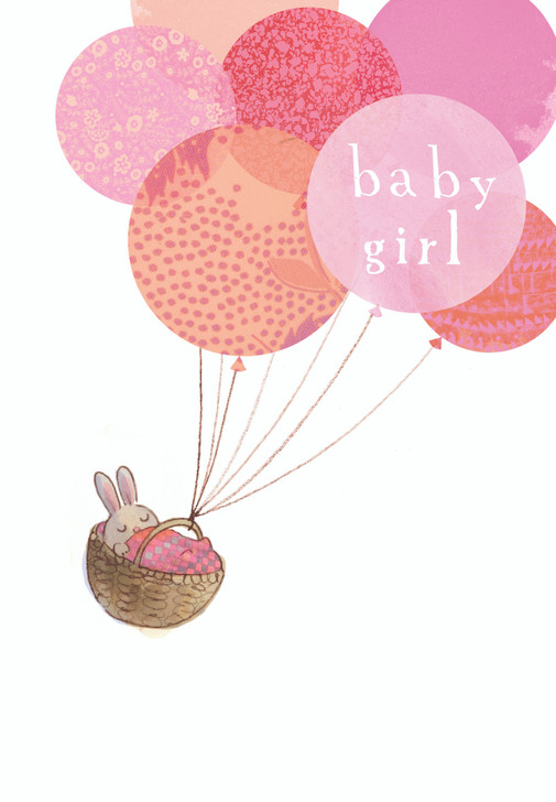 H433382 - BABY GIRL BUNNY WITH BALLOONS