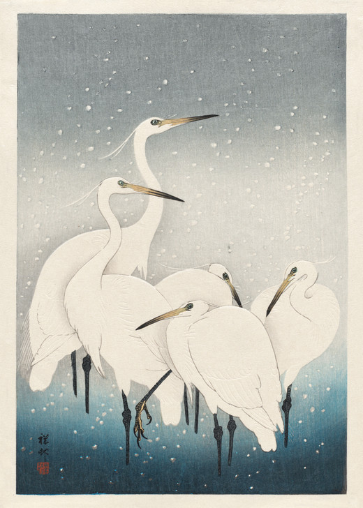 NMX20B - OHARA KOSON, HERONS IN THE SNOW