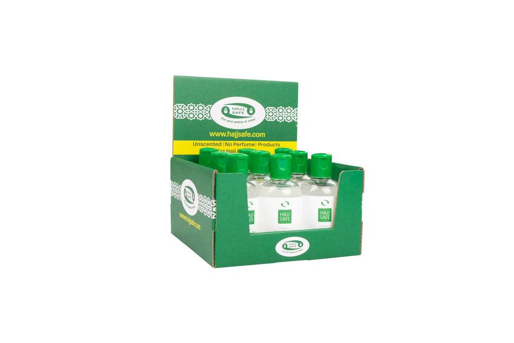 Hajj Safe - Unscented, Alcohol Free, Liquid Soap. Suitable for Hajj or Umrah. In our customised In-store display box.