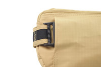 CONCEALED BUCKLE  Adding extra security to concealing the buckle in a hidden pouch but yet easily accessible for when you need to take the waist bag off.