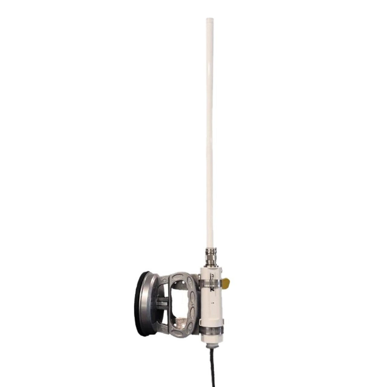 antenna mount using suction cup and extended pole for higher positioning.