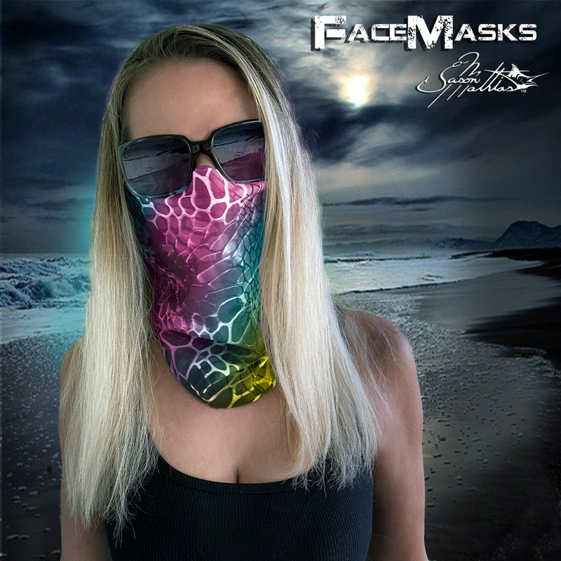 Rainbow high protection women's face mask, face scarf, featuring our fine art Aquatint design that helps you to blend into your environment!