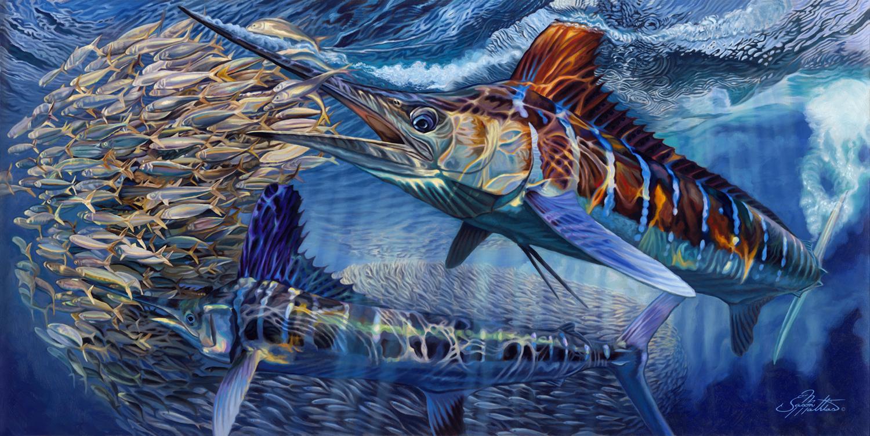 White Marlin, painting, art, sport fishing art, gamefish art, jason mathias, billfish