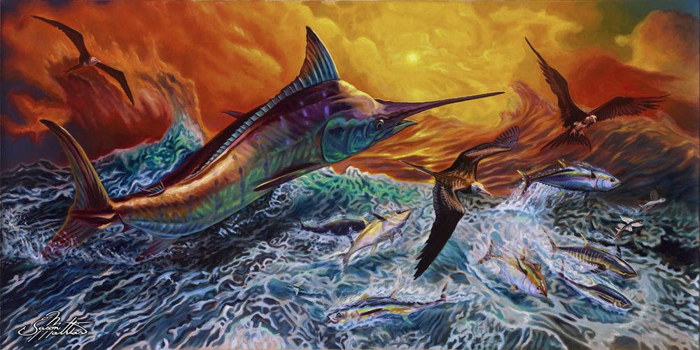 blue-marlin-jumping-after-busting-tuna-and-flyingfish-sunset-rough-seas-jason-mathias-art-painting-prints-gamefish-sportfish.jpg