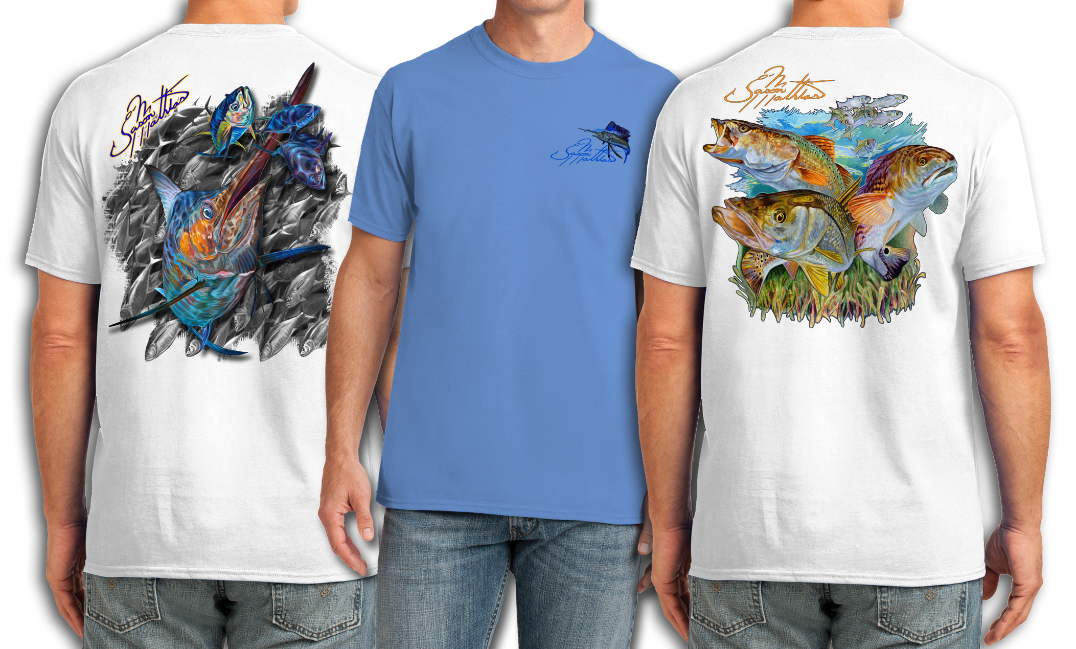 cotton-feel-t-shirts-short-sleeve-fishing-shirts-apparel-gear-jason-mathias-art-sailfish-blue-marlin.png