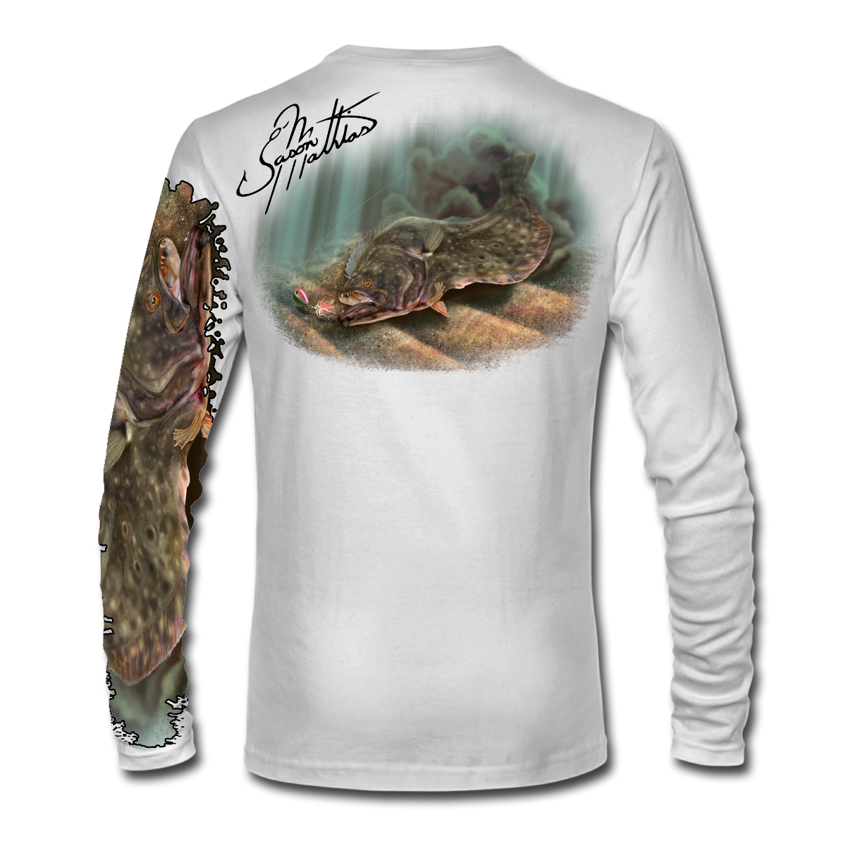 jason-mathias-shirt-line-white-flounder-fluke-fishing-apparel-gear-outdoor-solar-sun-high-performance-inshore-gamefish-art-sportfish-art-designs.png