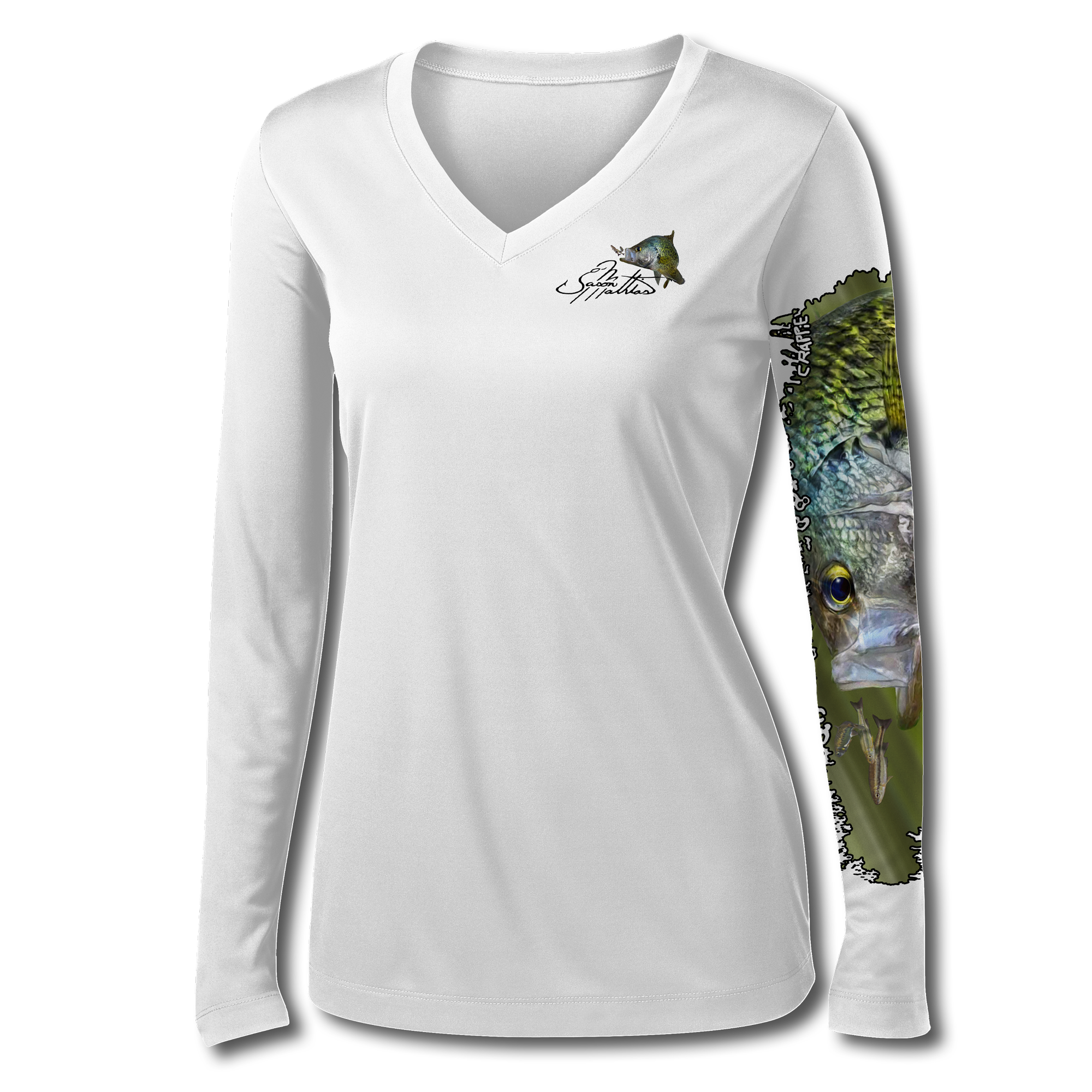 jason-mathias-womans-black-crappie-high-perforamce-t-shirt-desing-front-on-white.png